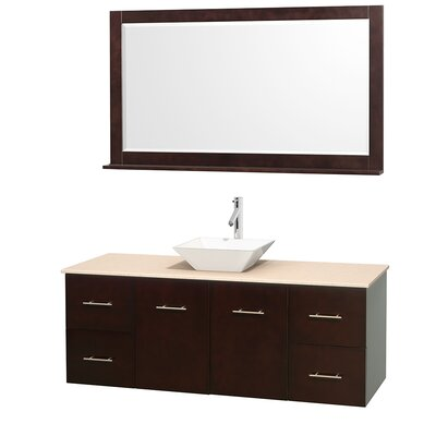 Centra 60 Single Espresso Bathroom Vanity Set with Mirror Top Finish: Ivory Marble, Sink Finish: White Porcelain