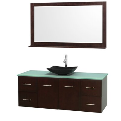 Centra 60 Single Espresso Bathroom Vanity Set with Mirror Top Finish: Green Glass, Sink Finish: Arista Black Granite