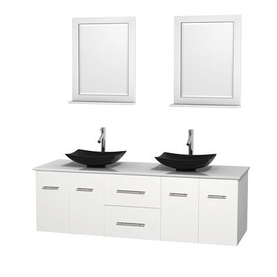 Centra 72 Double White Bathroom Vanity Set with Mirror Top Finish: White Man-Made Stone, Sink Finish: Arista Black Granite