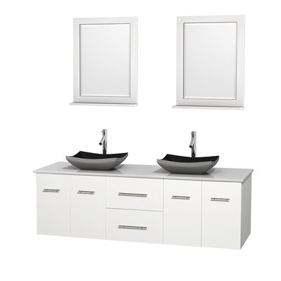 Centra 72 Double White Bathroom Vanity Set with Mirror Top Finish: White Man-Made Stone, Sink Finish: Altair Black Granite