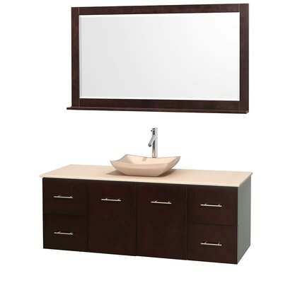 Centra 60 Single Espresso Bathroom Vanity Set with Mirror Top Finish: Ivory Marble, Sink Finish: Avalon Ivory Marble