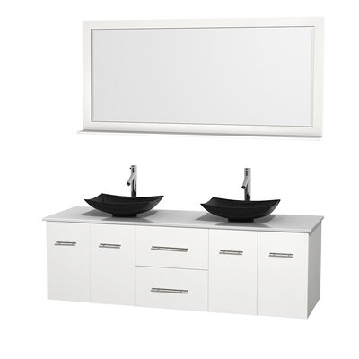 Centra 72 Double White Bathroom Vanity Set with Mirror Sink Finish: Arista Black Granite, Top Finish: White Man-Made Stone