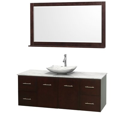 Centra 60 Single Espresso Bathroom Vanity Set with Mirror Top Finish: White Carrera Marble, Sink Finish: Arista White Carrera Marble