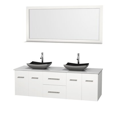 Centra 72 Double White Bathroom Vanity Set with Mirror Top Finish: Green Glass, Sink Finish: Arista White Carrera Marble