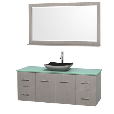Centra 60 Single Gray Oak Bathroom Vanity Set with Mirror Top Finish: Green Glass, Sink Finish: Altair Black Granite