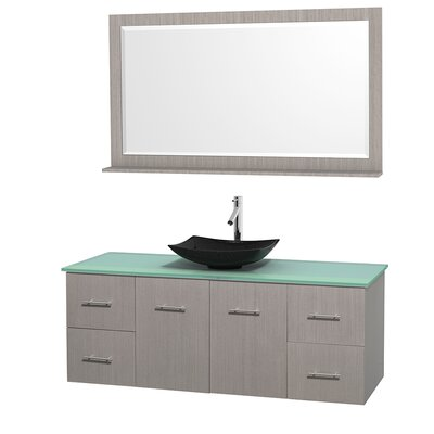 Centra 60 Single Gray Oak Bathroom Vanity Set with Mirror Top Finish: Green Glass, Sink Finish: Arista Black Granite