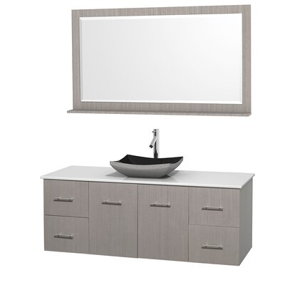 Centra 60 Single Gray Oak Bathroom Vanity Set with Mirror Top Finish: White Man-Made Stone, Sink Finish: Altair Black Granite