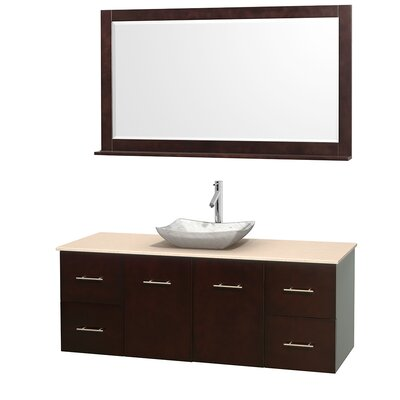 Centra 60 Single Espresso Bathroom Vanity Set with Mirror Top Finish: Ivory Marble, Sink Finish: Avalon White Carrera Marble