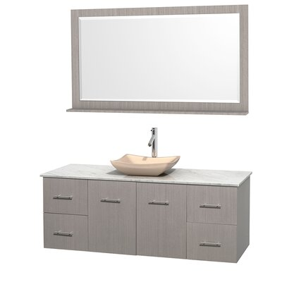 Centra 60 Single Gray Oak Bathroom Vanity Set with Mirror Top Finish: White Carrera Marble, Sink Finish: Avalon Ivory Marble