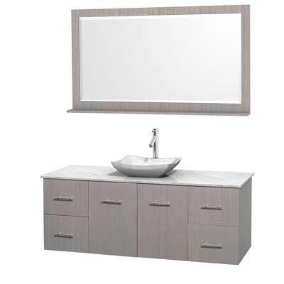 Centra 60 Single Gray Oak Bathroom Vanity Set with Mirror Top Finish: White Carrera Marble, Sink Finish: Avalon White Carrera Marble