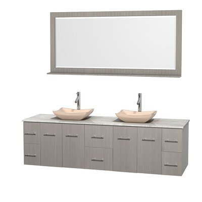 Centra 80 Double Gray Oak Bathroom Vanity Set with Mirror Top Finish: White Carrera Marble, Sink Finish: Avalon Ivory Marble