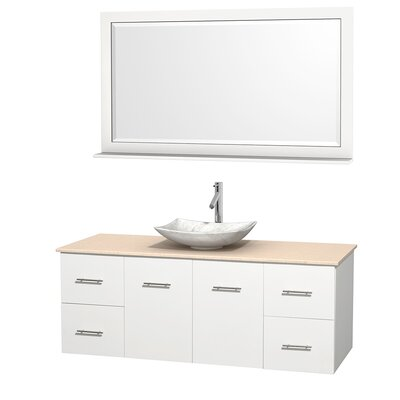 Centra 60 Single White Bathroom Vanity Set with Mirror Top Finish: Ivory Marble, Sink Finish: Arista White Carrera Marble