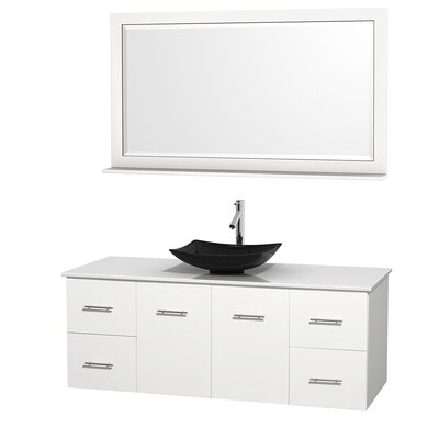 Centra 60 Single White Bathroom Vanity Set with Mirror Top Finish: White Man-Made Stone, Sink Finish: Arista Black Granite