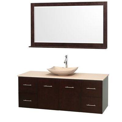Centra 60 Single Espresso Bathroom Vanity Set with Mirror Top Finish: Ivory Marble, Sink Finish: Arista Ivory Marble
