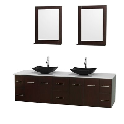 Centra 80 Double Espresso Bathroom Vanity Set with Mirror Sink Finish: Arista Black Granite, Top Finish: White Man-Made Stone