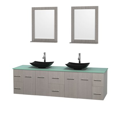 Centra 80 Double Gray Oak Bathroom Vanity Set with Mirror Sink Finish: Arista Black Granite, Top Finish: Green Glass