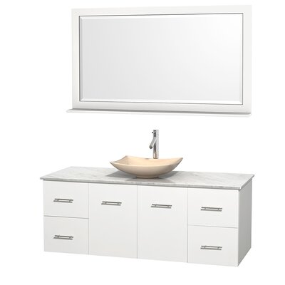 Centra 60 Single White Bathroom Vanity Set with Mirror Top Finish: White Carrera Marble, Sink Finish: Arista Ivory Marble