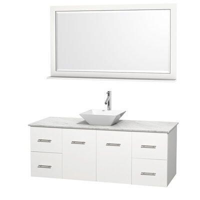 Centra 60 Single White Bathroom Vanity Set with Mirror Top Finish: White Carrera Marble, Sink Finish: White Porcelain