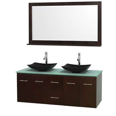 Centra 60 Double Espresso Bathroom Vanity Set with Mirror Top Finish: Green Glass, Sink Finish: Arista Black Granite