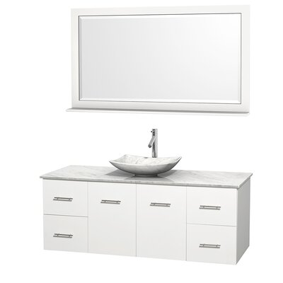 Centra 60 Single White Bathroom Vanity Set with Mirror Top Finish: White Carrera Marble, Sink Finish: Arista White Carrera Marble