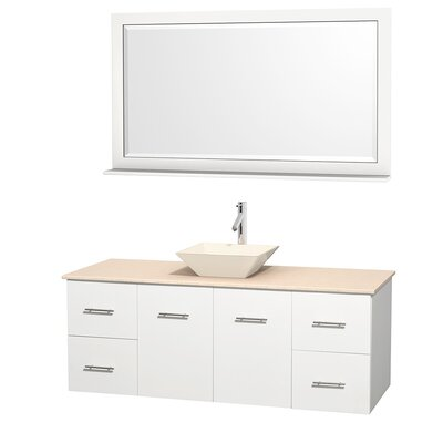 Centra 60 Single White Bathroom Vanity Set with Mirror Top Finish: Ivory Marble, Sink Finish: Bone Porcelain