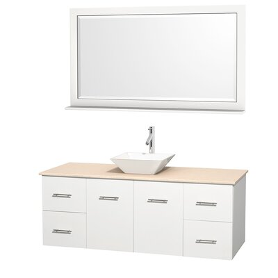 Centra 60 Single White Bathroom Vanity Set with Mirror Top Finish: Ivory Marble, Sink Finish: White Porcelain