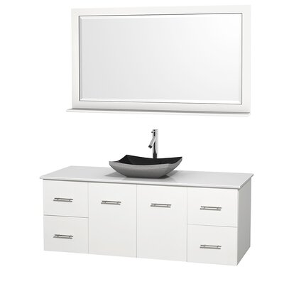 Centra 60 Single White Bathroom Vanity Set with Mirror Top Finish: White Man-Made Stone, Sink Finish: Altair Black Granite