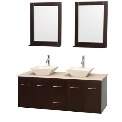 Centra 60 Double Espresso Bathroom Vanity Set with Mirror Top Finish: Ivory Marble, Sink Finish: Bone Porcelain