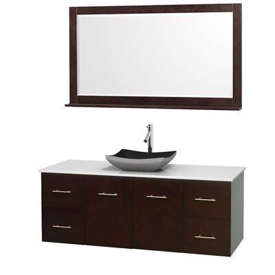 Centra 60 Single Espresso Bathroom Vanity Set with Mirror Top Finish: White Man-Made Stone, Sink Finish: Altair Black Granite
