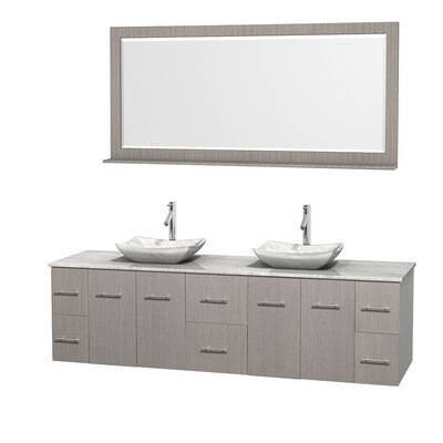 Centra 80 Double Gray Oak Bathroom Vanity Set with Mirror Top Finish: White Carrera Marble, Sink Finish: Avalon White Carrera Marble