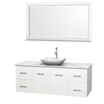 Centra 60 Single White Bathroom Vanity Set with Mirror Top Finish: White Carrera Marble, Sink Finish: Avalon White Carrera Marble