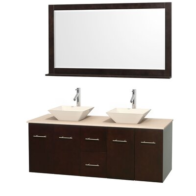 Centra 60 Double Espresso Bathroom Vanity Set with Mirror Sink Finish: Bone Porcelain, Top Finish: Ivory Marble