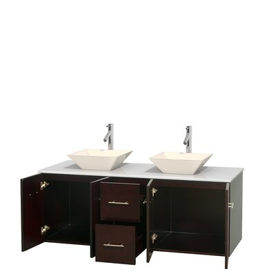Centra 60 Double Bathroom Vanity Set Base Finish: Espresso, Basin Finish: Pyra Bone