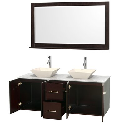 Centra 60 Double Espresso Bathroom Vanity Set with Mirror Top Finish: White Carrera Marble, Sink Finish: Bone Porcelain