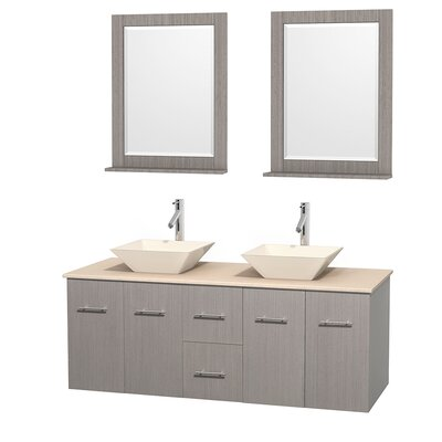 Centra 60 Double Gray Oak Bathroom Vanity Set with Mirror Sink Finish: Bone Porcelain, Top Finish: Ivory Marble