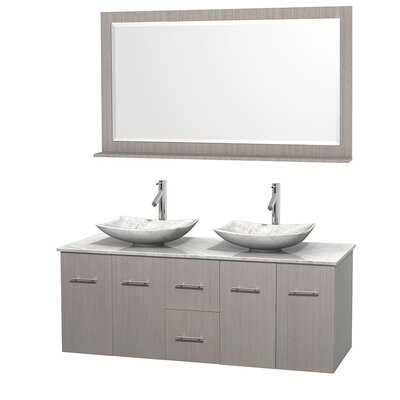 Centra 60 Double Gray Oak Bathroom Vanity Set with Mirror Top Finish: White Carrera Marble, Sink Finish: Arista White Carrera Marble