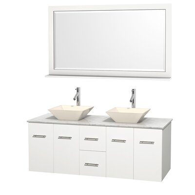 Centra 60 Double White Bathroom Vanity Set with Mirror Top Finish: White Carrera Marble, Sink Finish: Bone Porcelain