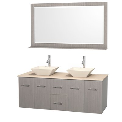 Centra 60 Double Gray Oak Bathroom Vanity Set with Mirror Top Finish: Ivory Marble, Sink Finish: Bone Porcelain