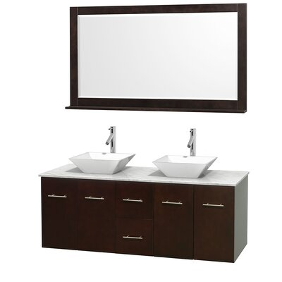 Centra 60 Double Espresso Bathroom Vanity Set with Mirror Top Finish: White Carrera Marble, Sink Finish: White Porcelain