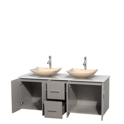 Centra 60 Double Bathroom Vanity Set Base Finish: Gray Oak, Basin Finish: Arista Ivory