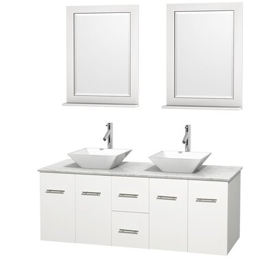 Centra 60 Double White Bathroom Vanity Set with Mirror Top Finish: White Carrera Marble, Sink Finish: White Porcelain