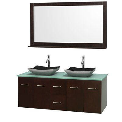 Centra 60 Double Espresso Bathroom Vanity Set with Mirror Sink Finish: Avalon White Carrera Marble, Top Finish: Green Glass