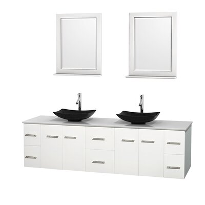 Centra 80 Double White Bathroom Vanity Set with Mirror Top Finish: White Man-Made Stone, Sink Finish: Arista Black Granite