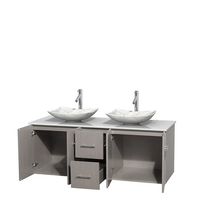 Centra 60 Double Bathroom Vanity Set Base Finish: Gray Oak, Basin Finish: Arista White Carrera