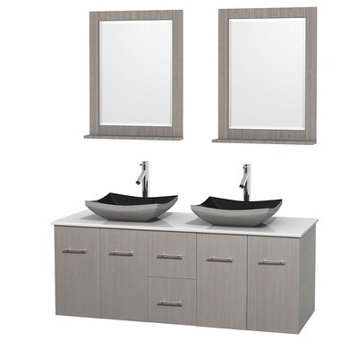 Centra 60 Double Gray Oak Bathroom Vanity Set with Mirror Top Finish: White Carrera Marble, Sink Finish: Arista Black Granite