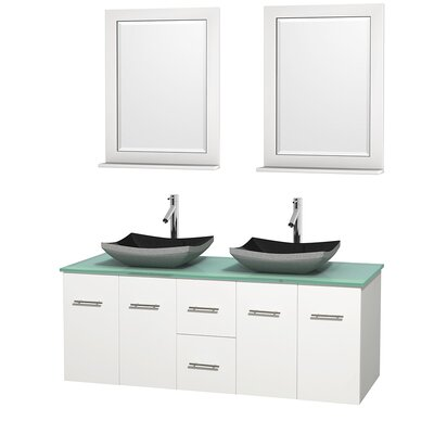 Centra 60 Double White Bathroom Vanity Set with Mirror Top Finish: Green Glass, Sink Finish: Altair Black Granite