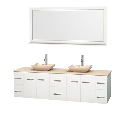 Centra 80 Double White Bathroom Vanity Set with Mirror Top Finish: Ivory Marble, Sink Finish: Avalon Ivory Marble
