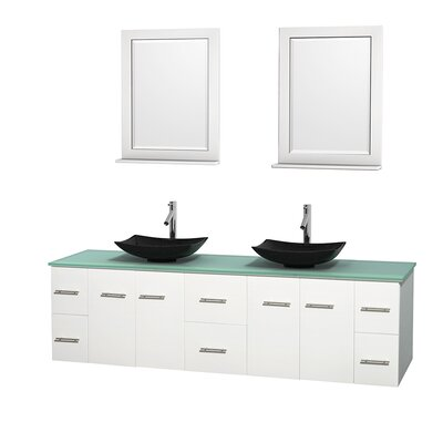 Centra 80 Double White Bathroom Vanity Set with Mirror Top Finish: Green Glass, Sink Finish: Arista Black Granite