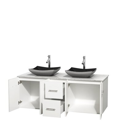 Centra 60 Double Bathroom Vanity Set Base Finish: Matte White, Top Finish: White Carrera