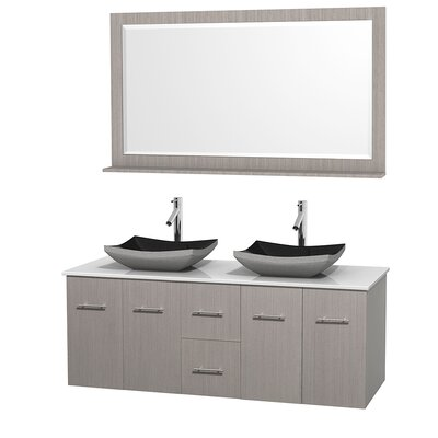 Centra 60 Double Gray Oak Bathroom Vanity Set with Mirror Sink Finish: Altair Black Granite, Top Finish: White Man-Made Stone